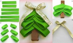 Christmas Tree Hairbow Clip