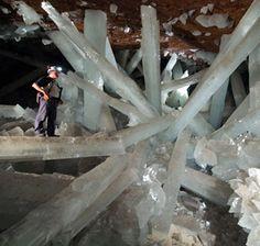 Selenite crystals - up to 11 meters long! Cueva de los Cristales, Mexico