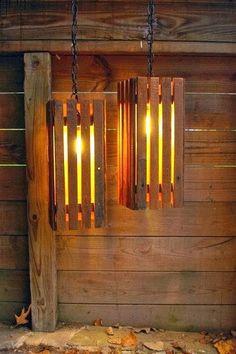 luminária de palets