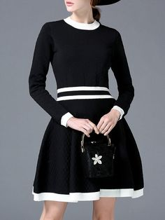 Shop Mini Dresses - Black Knitted A-line Color-block Long Sleeve Sweater Dress online. Discover unique designers fashion at StyleWe.com.