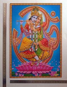 RADHA KRISHNA DANCE Together, Om Aum - POSTER (Big Size: 20 x 29 inches) - $6.97 | PicClick Krishna Radha, Lord Krishna, Lakshmi Images, Wine Bottle Art, Foil Paper, Metallic Paper, Hinduism, Dance, Om