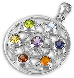 Flower of Life Chakra Pendant in silver - The symbol is formed of overlapping circles arranged in a six-fold pattern which contain sacred geometry symbols.