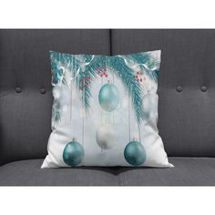 Teal Christmas Pillow Throw Pillows ($30) ❤ liked on Polyvore featuring home, home decor, throw pillows, decorative pillows, grey, home & living, home décor, gray home decor, teal blue throw pillows and teal home accessories