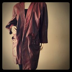 Vintage 80's leather coat Stunning leather jacket with shoulder pads. I love the design of this vintage jacket. There are some flaws as shown in last two pictures otherwise in excellent condition. Major statement piece. By Maxima. Namaste Vintage Jackets & Coats