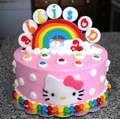 Hello Kitty Cake with Rainbows