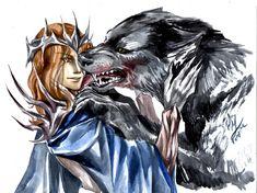 Sauron and Carcharoth by OkamiKiba13
