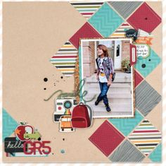 one photo layout from Scrapbook & Cards Magazine Fall 2017 page 70 School Scrapbook Layouts, Scrapbook Layout Sketches, Kids Scrapbook, Scrapbook Designs, Scrapbook Paper Crafts, Scrapbook Supplies, Scrapbooking Layouts, Scrapbook Cards, Picture Scrapbook