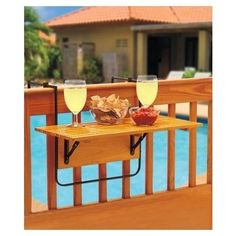 Balcony Table Wooden Foldable Porch Tray Outdoor Hanging Space Saver Portable