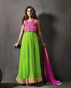 cff74cbd03b Buy online green and hot pink colored floor length anarkali suit at lowest  price. This floor length anarkali suit is prettified with attractive  patterns of ...