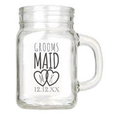 #black - #Groomsmaid Wedding Mason Jar