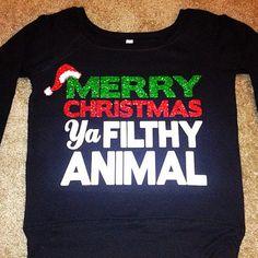 Merry Christmas - Ya Filthy Animal - Off the Shoulder Sweatshirt - Chr – Ruffles with Love