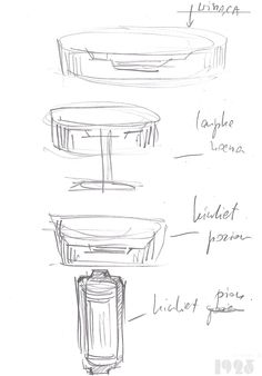 First sketches of timeless and unique, art deco ispired lamps by atelier 1925