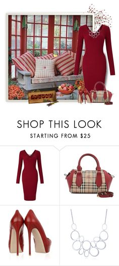 """Porch Swing in Autumn"" by daiscat ❤ liked on Polyvore featuring Miss Selfridge, Burberry, Valentino and BERRICLE"