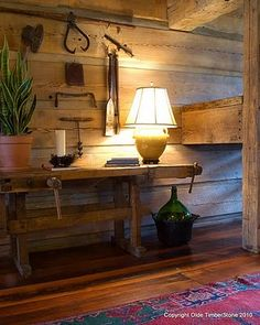 Tool Bench Table and antique tool display. Antique Tools, Old Tools, Tool Bench, Sleeping Loft, Cabin Ideas, House Ideas, Rustic Farmhouse, Room Interior, Barn Wood