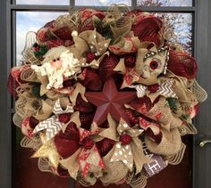 Vintage Rustic Red Santa and Star Burlap and Deco Mesh Holiday Wreath