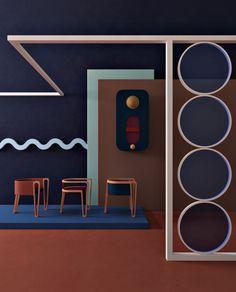 Ideas For Retro Furniture Colour Loft Interior, Estilo Interior, Interior Exterior, Interior Styling, Exterior Design, Interior Decorating, Decorating Kitchen, Furniture Showroom, Retro Furniture