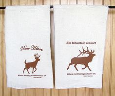 Natural Flour Sack Towels with Deer/Elk prints
