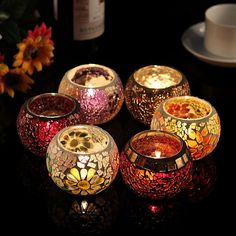 HSE 2 Pieces (Random Color)chinese Mosaic Glass Candle Holder Tealight Votive Holder for Wedding Home Deco Lanterns Decor, Candle Lanterns, Tea Light Candles, Votive Candles, Tea Lights, Candels, Decorative Lanterns, Candle Lamp, Diwali Decoration Lights