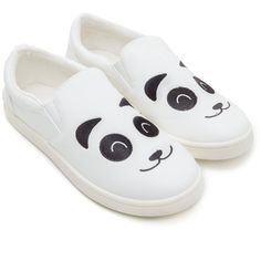 Happy Panda Faux Leather Sneakers ❤ liked on Polyvore featuring shoes, sneakers, vegan shoes, vegan trainers, synthetic leather shoes, panda sneakers and vegan leather shoes
