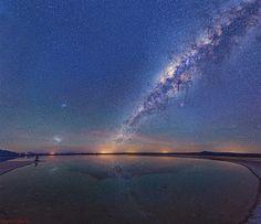 The Milky Way and Salar de Atacama's Cejar Lagoon, Chile