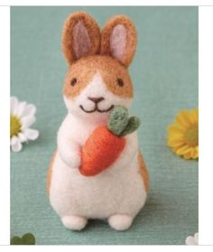DIY KIT- Hamanaka -Japanese Wool Needle Crafts -Felting Kit - Rabbit Wool -Gift for her - Gift for him Needle Felting Kits, Needle Felted, Felted Wool, Felt Crafts Diy, Cute Crafts, Easter Egg Crafts, Easter Gift, Easter Decor, Diy Kits For Adults