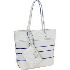 #Handbags, #ManmadeHandbags - Nine West Handbags 9s Mixed Media Tote Light Grey - Nine West Handbags Manmade Handbags