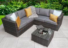 Corner Sofa With Cushions, Rattan Corner Sofa, Corner Sofa Set, Corner Sofa Garden, Garden Sofa, Grey Outdoor Furniture, Outdoor Sofa, Beige Cushions, Glass Top Coffee Table