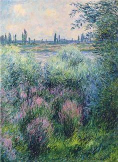 Spot on the Banks of the Seine - Claude Monet. I love Monet! Monet Paintings, Impressionist Paintings, Landscape Paintings, Claude Monet, Pierre Auguste Renoir, Edouard Manet, Van Gogh Pinturas, Artist Monet, Georges Seurat