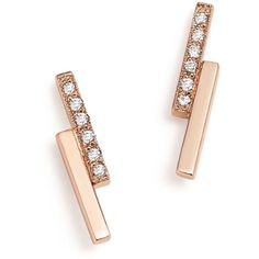 Zoe Chicco 14K Rose Gold Staggered Bar Stud Earrings with Diamonds ($410) ❤ liked on Polyvore featuring jewelry, earrings, accessories, pave diamond earrings, pink gold earrings, 14k diamond earrings, 14k stud earrings and earring jewelry