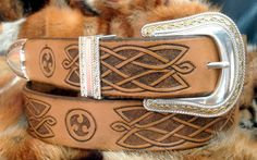 Celtic leather belt  hand tooled with Celtic buckle by Gemsplusleather #tooled leather #belt #leather #buckle #present #gift #custom #Celtic #knot #ornament #carving #handmade #holiday #birthday #design #Gemsforall