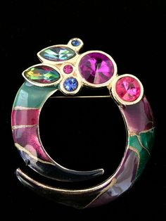 Vtg 80's Abstract Enamel Purple Pink & Helitrope Rivoli Stones Brooch Available at Dellagraces Vintage Jewelry