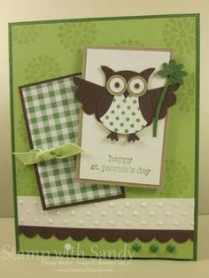 St. Patrick's Day Owl...Stamp Sets: Teeny Tiny Wishes, Mixed Bunch, Dot Dot Dot Background Stamp by stampwithsandy