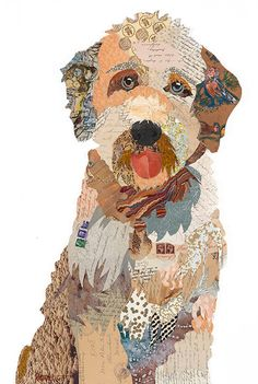 Paper Collage Art, Collage Art Mixed Media, Collage Drawing, Wall Collage, Dog Quilts, Animal Quilts, Landscape Quilts, Painted Paper, Art Plastique