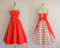 vintage 1950s dress / 50s red dress / by simplicityisbliss on Etsy