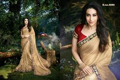 Stunning karishma kapoor starer golden lycra and net designer party wear saree ...avaialble at best price ..Book fast @Anjali Designer wear ...INDIAN fashion