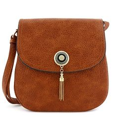 Double Compartment Tassel Accent Crossbody Bag with Flap Top Brown ** You can find more details by visiting the image link.Note:It is affiliate link to Amazon.