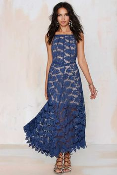 Love this blue lace dress.