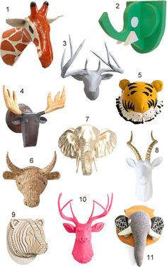 Get the Look: 45 Faux Animal Heads - StyleCarrot Taxidermy Decor, Faux Taxidermy, Trophy Rooms, Animal Heads, Wall Sculptures, My Room, Wall Design, Playroom, Home Accessories