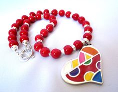 Gorgeous red glass beads and a colorful by Thingsfromtheheart, $43.00
