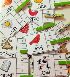 alphabet, beginning sounds, ending sounds, numbers, comes before, comes after, color words, number words- SUPER easy to implement! Easy to prep and store! SCORE! #phonics #vocabulary #kindergarten