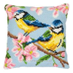Bluetits and Blossom Cushion