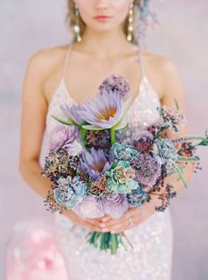 Millennial Vogue-inspired prismatic wedding editorial with an ombré bridal gown - 100 Layer Cake Wedding Book, Wedding Thank You, Wedding Day, Purple Wedding, Wedding Flowers, Groom Boutonniere, Boutonnieres, Wedding Playlist, Orlando Wedding