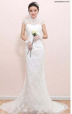 Chinese Wedding Gown Embellished Illusion Bridal Qipao