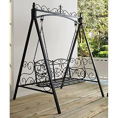 Classic And Sturdy All Metal Outdoor Porch Swing With Armrest and Stand In Black finish ** Read more  at the image link. (Amazon affiliate link)