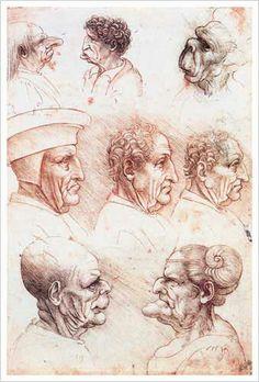 Leonardo Da Vinci grotesque heads