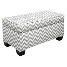 Digging this Skyline Chevron Grey and White Upholstered Storage Bench- Never enough storage!!