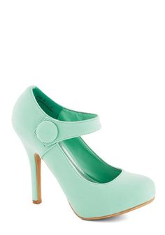 Merry Jane Heel - Mint, Solid, Buttons, Wedding, Daytime Party, Graduation, Bridesmaid, High, Platform, Good, Pastel, Faux Leather