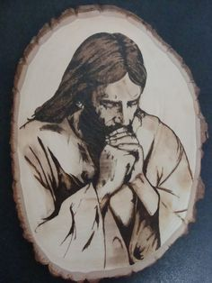 Jesus Christ Pyrography by dppratt on DeviantArt Wood Burning Crafts, Wood Burning Patterns, Wood Burning Art, Wood Crafts, Diy Crafts, Woodworking Furniture Plans, Woodworking Projects That Sell, Woodworking Crafts, Gravure Laser