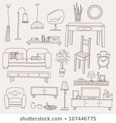 Set of vector icons for living room living room interior royalty free stock images stock vector Free Vector Graphics, Free Vector Art, Vector Icons, Living Room Objects, Living Room Vector, Doodle Images, Drawing Furniture, Drawing Room Design, Architecture Concept Drawings