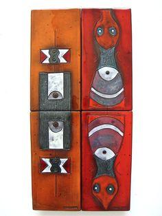 Oswald Tieberghien; Glazed Ceramic Wall Panels, 1960s.